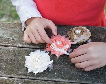 Rosie Fabic Flower Hair Clip: Coral, Ivory and Gold