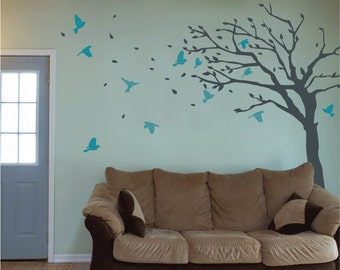 Blowing Tree Wall Decal - Living Room Wall Vinyl Blossom Wall Sticker With Birds