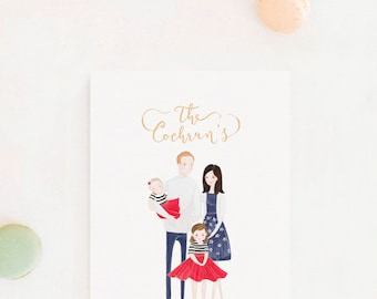 Custom Family Illustration Portrait Personalized Christmas Gift Idea