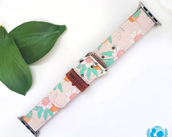 Orchid Leather Apple Watch Band 38mm, 42mm // Handmade Apple Watch Strap iWatch Band iWatch Strap Wearable Tech Christmas Gift