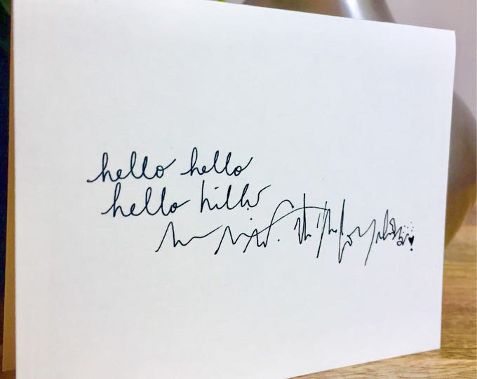 Unique stationery, cute hello card, Hello card, Hand Lettered Thank You Card Set, Bulk Note Cards hello, handmade notecards