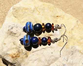 The glass, lapis lazuli and amber beads earrings