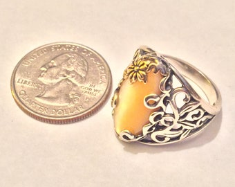 Buttercup Yellow Mother-of-Pearl Sterling/Brass Ring - by Carolyn Pollack