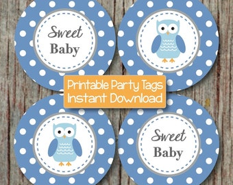 Owl Ocean Blue Grey Baby Shower Decorations Cupcake Toppers Favor Tags Stickers Labels INSTANT DOWNLOAD PDF Printable Party Sweet Baby 129