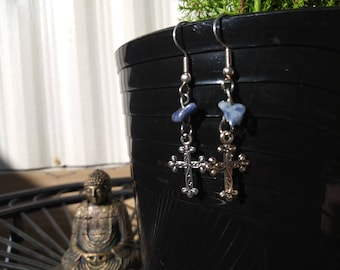 Sodalite Cross earrings