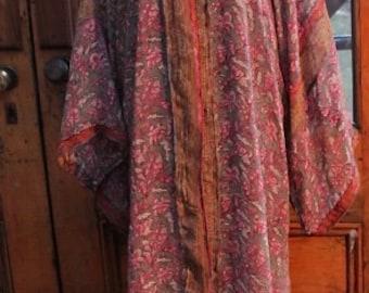 SPRING FLING SALE reg. 240.00 now 180.00Repurposed One of a Kind Vintage Silk Sari Hippie Kimono Kashmir