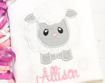 Shirts or Onesie Barnyard Sheep Appliqued Name Embroidered.