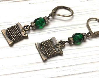 Rhinestone Silk Thread Charm Earrings. Medium Drop Earrings. Dangle Earrings. Emerald Green. Lever Back. Handmade Jewelry.