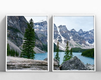 Mountains Teal Lake Set Of 2 Prints, Green Forest Mountains Print, Teal  Printable Set