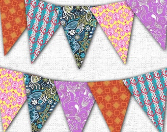 Colorful Boho Bunting Banner Printable Instant Download