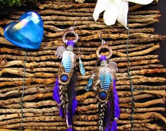 Feather earrings with aqua aura quartz