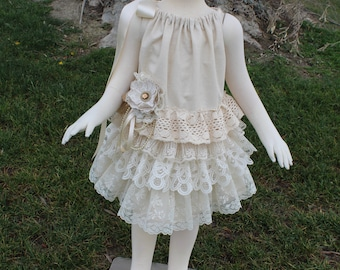 Rustic Lace Flower Girl Dress, Country Lace Linen Flower Girl Dress,Beach Flower Girls Dress, Boho Lace Girls Dress, Linen Flower Girl Dress