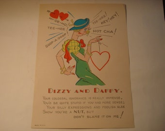 Vintage Fifties Paper Valentine DIZZY AND DAFFY