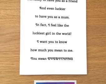 Mothers day card for Mum, birthday card for mum, love for mum, special mum, step mum card, adoptive mum card