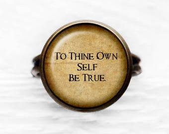 """William Shakespeare """"To Thine Own Self Be True"""" Adjustable Ring"""