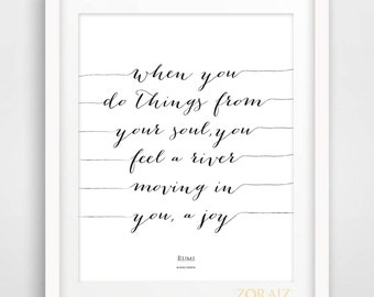 Joy - Inspiring Rumi Quote - Poetry - Spiritual - Rumi Collection 8x10inches