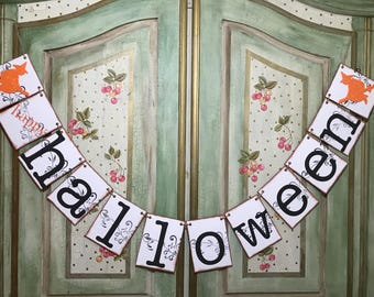 Halloween Sign, Happy Halloween Banner, Halloween Party Decor, Fall Decoration, Halloween Garland