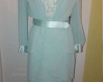 Vintage Formal Dress URSULA of Switzerland Size 6 Bridal Mother of the Bride Pale Green Fancy Beaded Chiffon