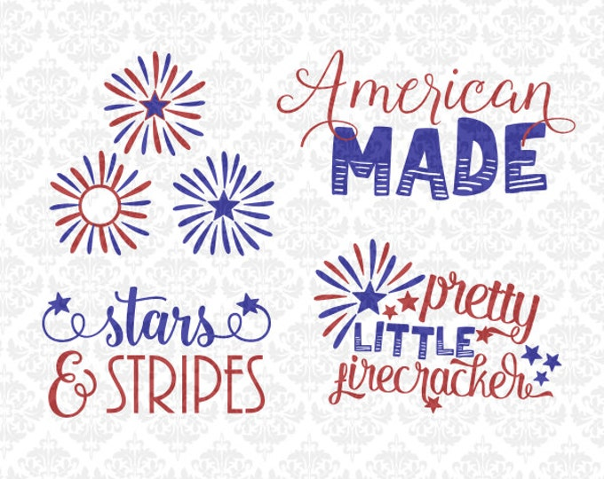 American Made Firework Monogram Firecracker SVG STUDIO Dxf Png Ai EPS scalable Vector Instant Download Commercial Use Cricut Silhouette