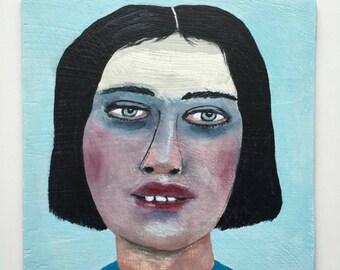 Original acrylic portrait painting // Bubblehead 36 // original art on 5 x 5 panel