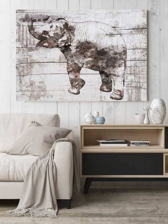 "Rustic Elephant. Large  Farmhouse Elephant Canvas Art Print, Brown Rustic Wall Art up to 72"" by Irena Orlov"