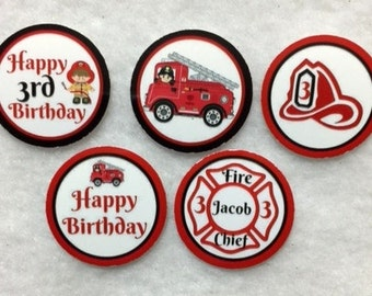 Set of 50/100/150/200  Fireman 3rd Birthday Party   1 Inch Confetti Circles
