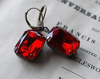 "FREE SHIPPING RED  Vintage Estate Earrings Siam Antiqued Classic Special Day  German 1940""s crystal stones"