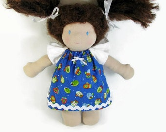 10 inch Waldorf Doll Dress, Blue and White Mittens Doll Dress, Handmade Doll Dress, cotton doll dress, Winter Waldorf dress