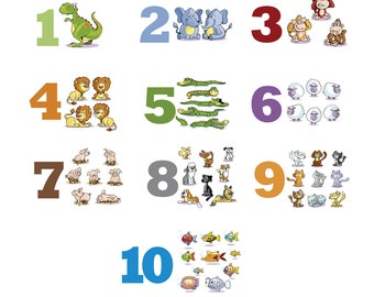 10 Counting Animals Numbers stickers 65 PCS Learning Kids Baby Room Nursery Wall Decals Decor Classroom Homeschooling Teaching Materials