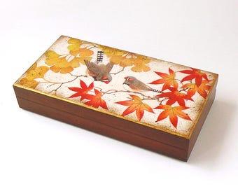 Decoupage Autumn Gift Box Wooden Jewelry Box Autumn Leaves Storage Box  Birds Keepsake Box Japanese Style Awesome Ideas