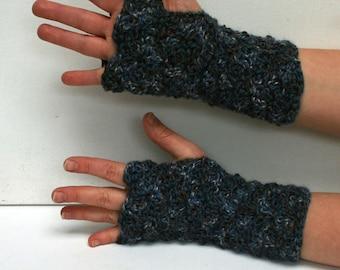 Mitaines fingerless Gloves-éclaboussées de bleu