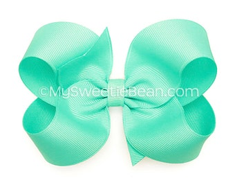 "Aqua Hair Bow, 4 inch Boutique Bow, 4"" Aqua Bow, Basic Bow Baby Toddler Girl, Large Grosgrain Bow for Girls, Aquamarine Blue, Pale Turquoise"