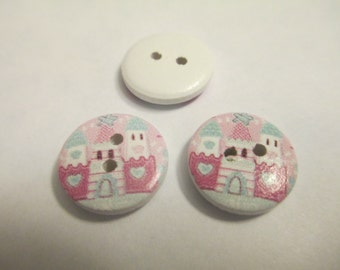 20 Painted Princess Castle Wooden Buttons Sewing Craft Supplies Jenuine Crafts