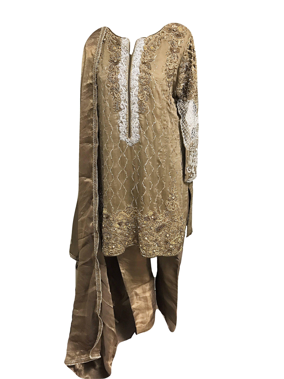 Olive Hand bestickt Hochzeit formelle Kleidung Medium