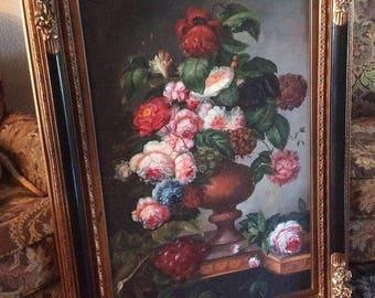 Sale Antique Style Oil Painting Still Life Flower Bouquet in Vase Realism European Genre Art O/C Signed Framed Home Decor