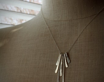 Necklace, Hammered Sterling Silver, Handmade, Brushed and Hammered, Artisan Quality