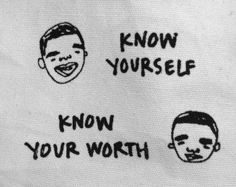 Drake drizzy KNOW YOURSELF screen printed handmade zip pouch