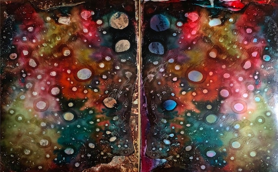 """Original Alcohol Ink Abstract Paintings: """"Gemini"""" (Pair of 11"""" X 14"""" - Framed to 16"""" x 20"""")"""