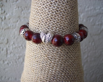 Stretch Bracelet For Women, Quartzite Beaded Bracelet, Bracelet for Women With Heart Charm , Red Quartzite Women Bracelet