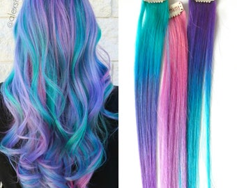 Mermaid Ombre Hair Extensions, Cotton Candy Ombre Hair, Hair Extensions, Human Hair Extensions, Clip In Hair, Underlights, Peakaboo Hair