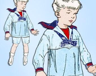 1920s Original Vintage Butterick Pattern 2552 Little Boys Sailor Suit Size 9