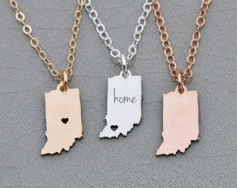 Indiana State Necklace • Indiana • USA Jewelry • Sterling Silver Birthday Gift Custom State Jewelry America Necklace State Pride
