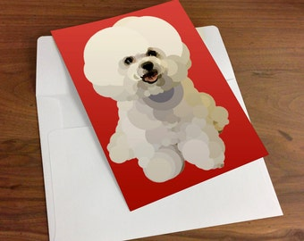 Note Cards a Personal Stationery, Bichon Frise Puppy, Gift Set, Dog Custom Vector Art Stationery