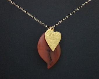 Agate & Gold Vermeil Leaf Pendant