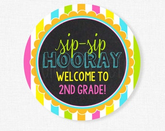 Sip Sip Hooray Tag, Back to School Tags, Second Grade Tag, Student Gift Tag, Welcome Back Tag Printable INSTANT DOWNLOAD