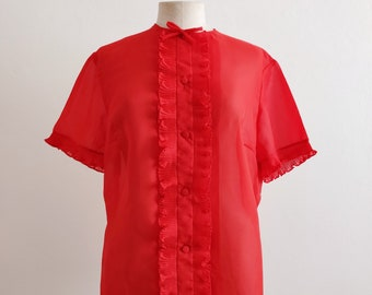 50s sheer red crêpe blouse with ruffled