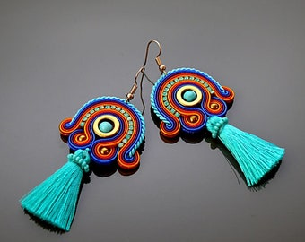 Orange sapphire purple Soutache earrings with Hematite.