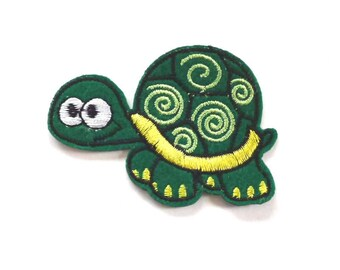Funny Green Tortoise Patch, Cute Tortoise Iron on Patch, Tortoise Appliqué, Cute Tortoise Patch