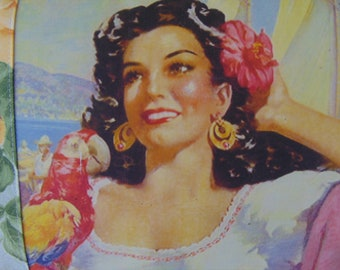 MOTHER'S DAY GIFT Lovely Vintage Spanish Senorita Acapulco Rose Pillow with Parrot On Sale Now