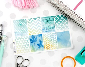 Watercolor full box stickers - mint green blue - 8 decorative matte stickers for planners / erin condren sized - Fall Winter